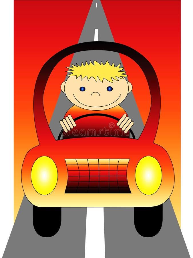 Menino que conduz o carro ilustração stock