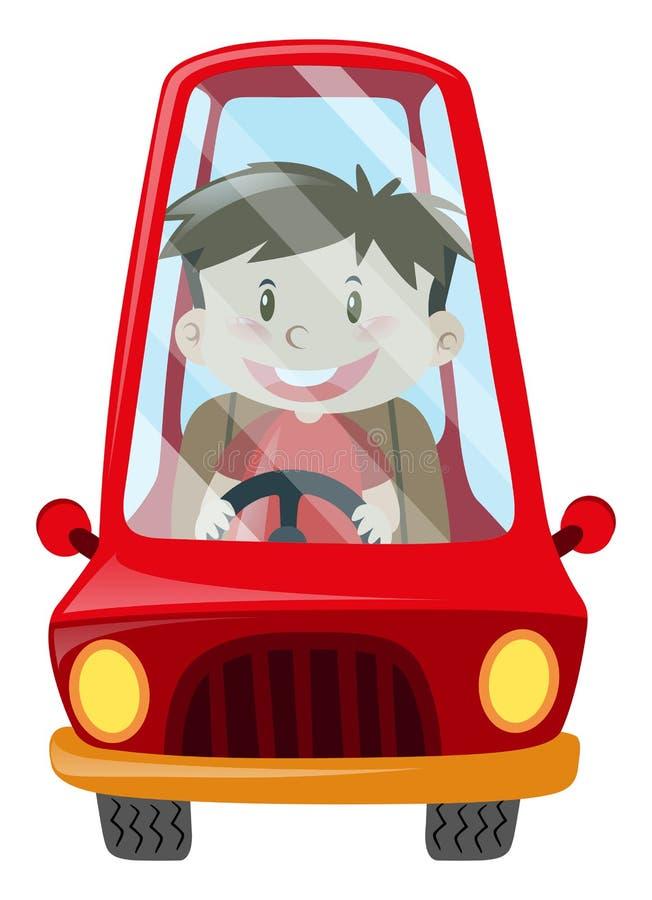 Menino que conduz o carro vermelho ilustração stock