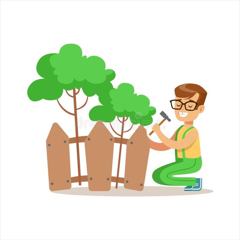 Menino que constrói a cerca de madeira Around Plants Helping na jardinagem Eco-amigável fora parte das crianças e da série da nat ilustração royalty free