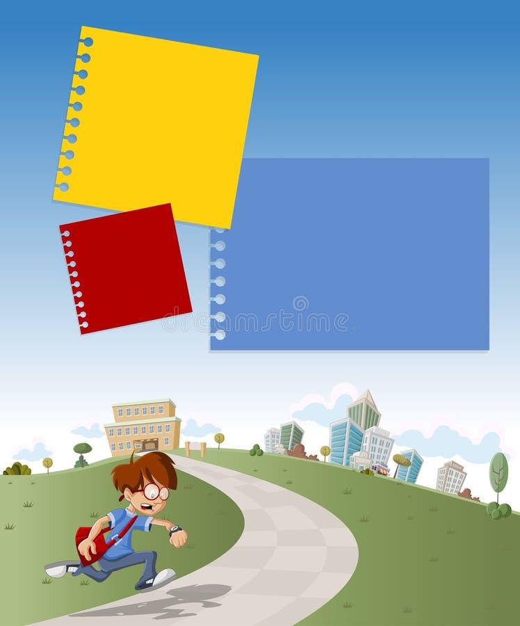 Menino que corre tarde para a escola. ilustração royalty free