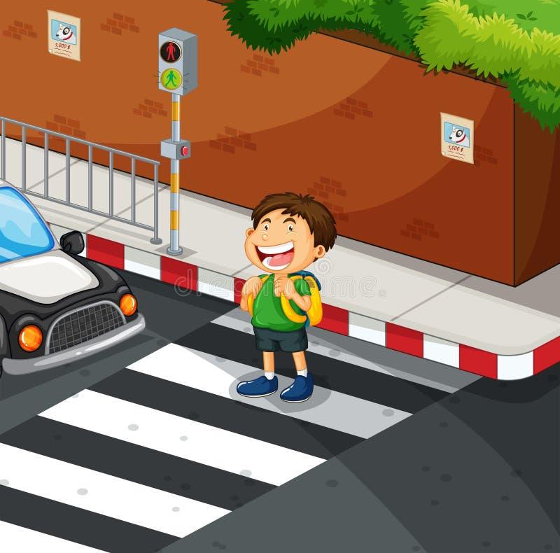 Menino que cruza a estrada no cruzamento de zebra ilustração do vetor