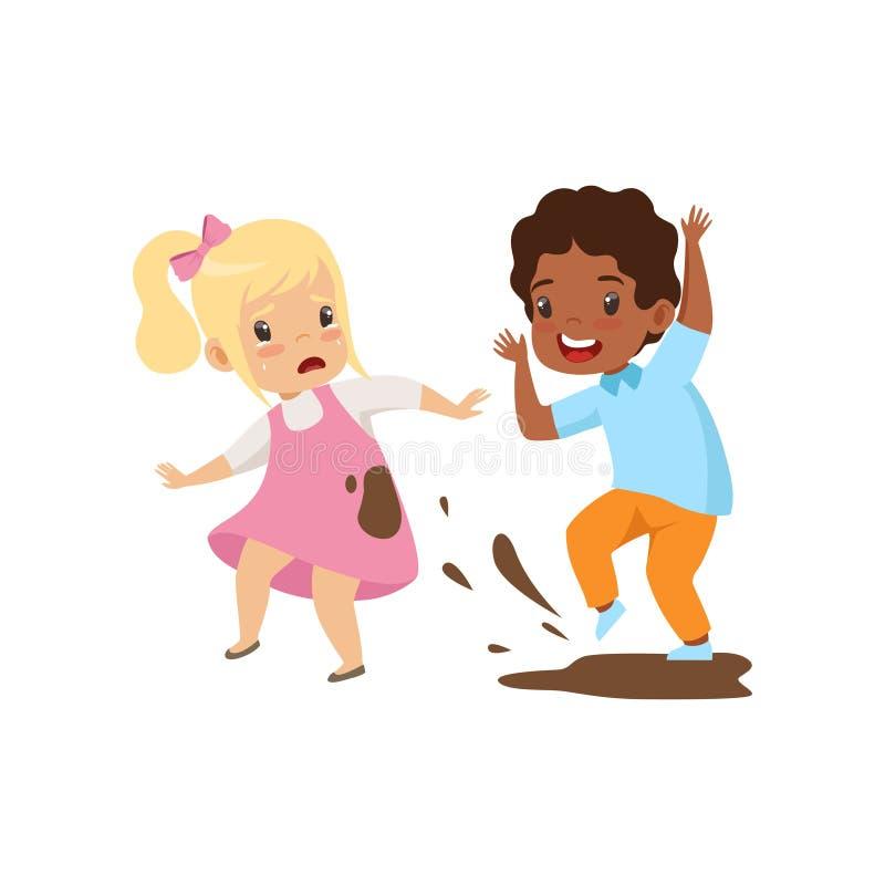 Menino que dirtying a menina com sujeira, comportamento mau, conflito entre crianças, zombaria e tiranizando na ilustração do vet ilustração stock