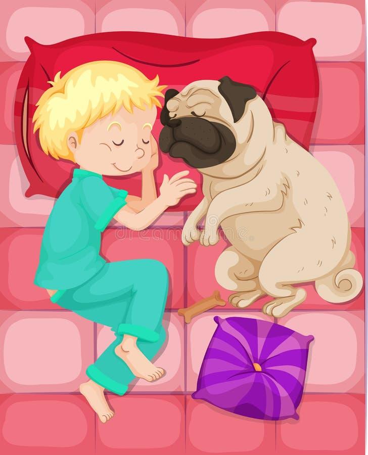 Menino que dorme com o cão de estimação na cama ilustração stock