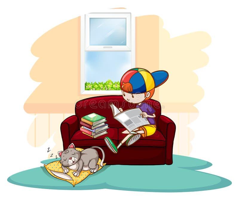 Menino que estuda dentro da casa ilustração royalty free