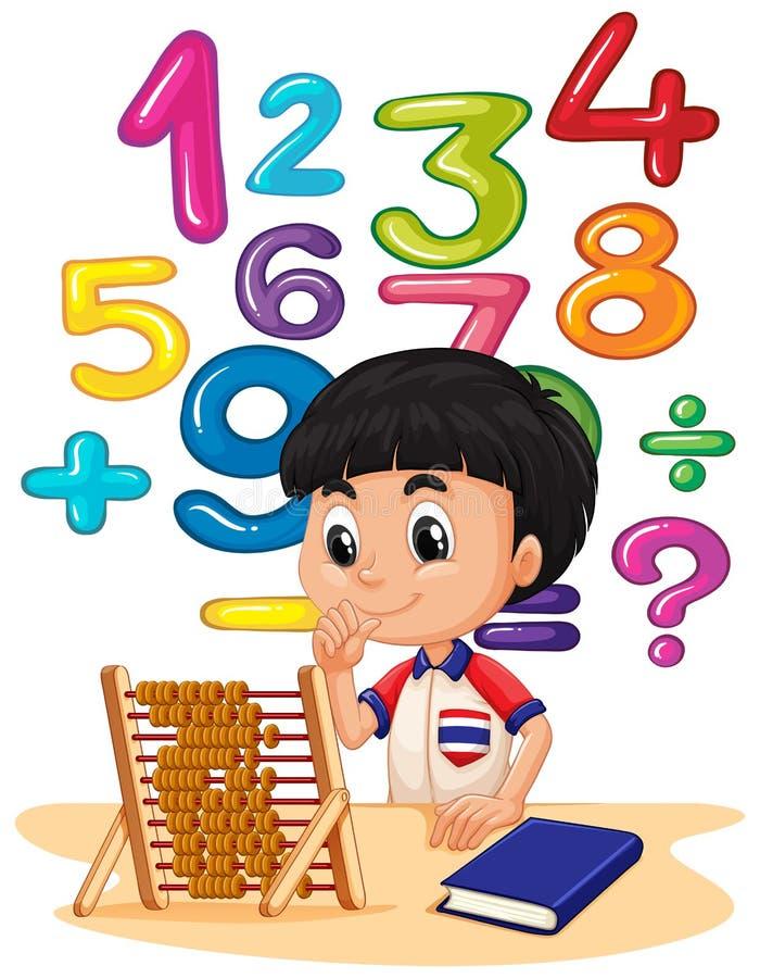 Menino que faz a matemática com ábaco ilustração stock