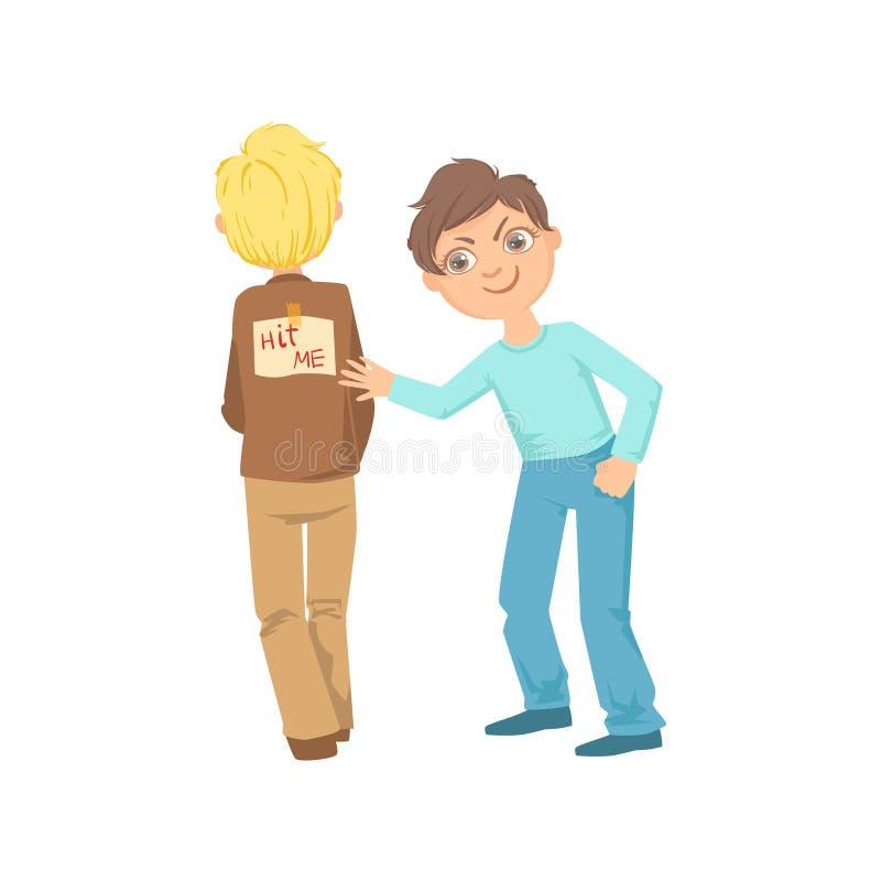 Menino que fixa o cartaz do gracejo em uma outra intimidação adolescente das crianças para trás que demonstra o comportamento de  ilustração do vetor