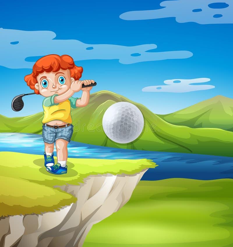 Menino que golfing na natureza ilustração stock