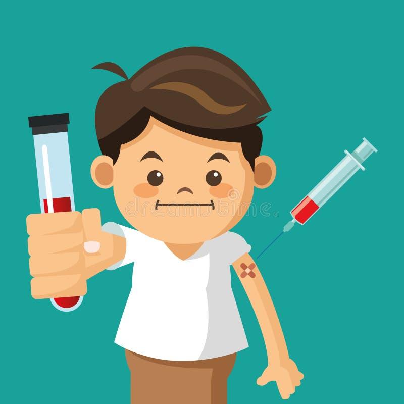 menino que guarda o teste do tubo com seringa imagens de stock