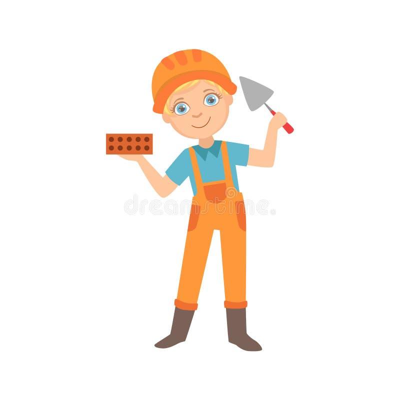 Menino que guarda uma faca de paleta e um tijolo, criança vestida como o grupo ideal futuro da profissão do local de On The Const ilustração do vetor