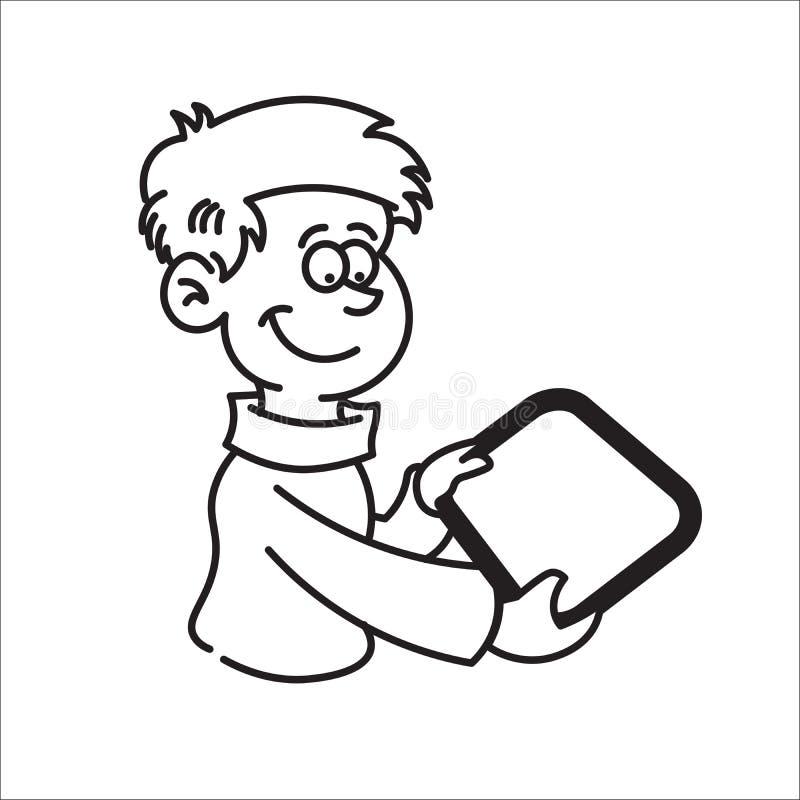 Menino que guarda uma tabuleta e um sorriso ilustração stock
