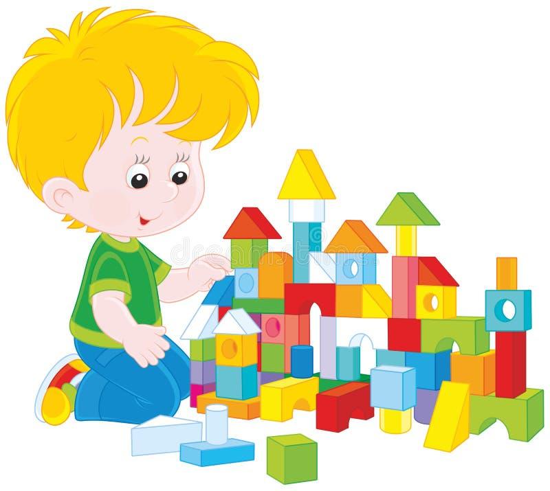Menino que joga com tijolos ilustração stock