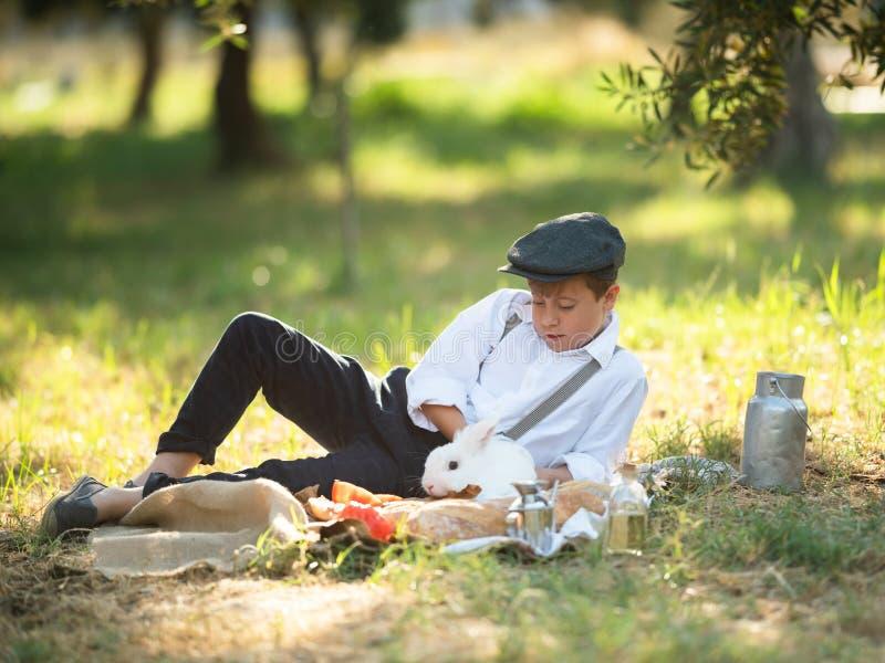 Menino que joga com um coelho no parque em um piquenique imagem de stock