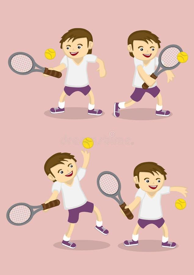 Menino que joga desenhos animados do vetor do tênis ilustração do vetor