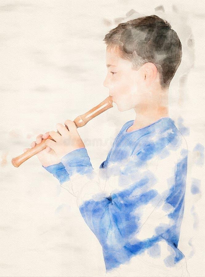 Menino que joga em uma flauta nas aquarelas ilustração stock