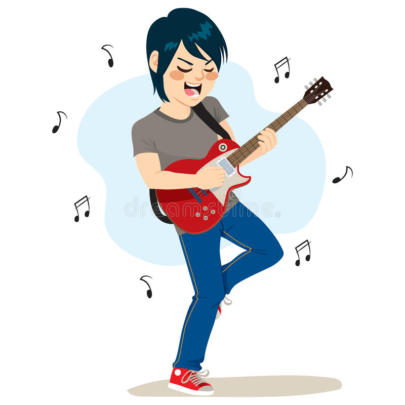 Menino que joga a música rock ilustração stock