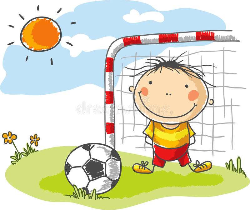 Menino que joga o futebol como um goleiros ilustração stock