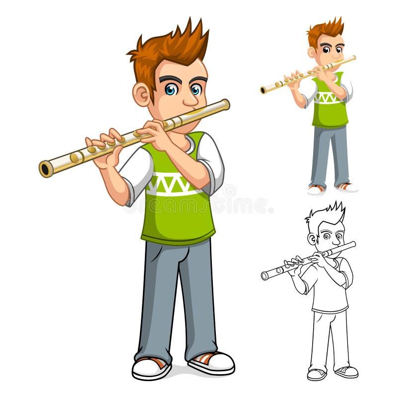 Menino que joga o personagem de banda desenhada da flauta ilustração royalty free