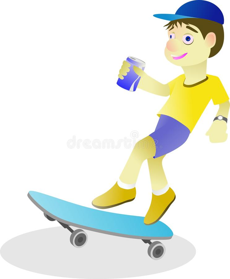 menino que joga o skate quando latas do leite bebendo fotografia de stock royalty free