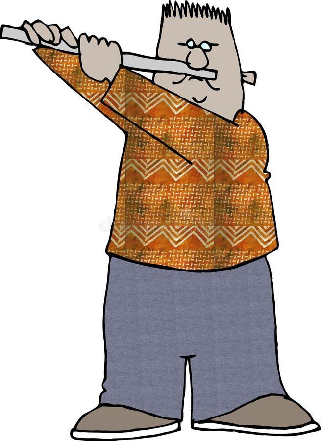 Menino que joga uma flauta ilustração stock