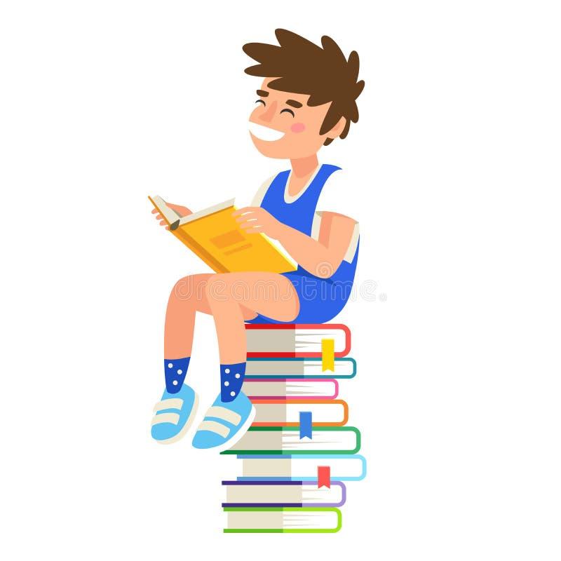 Menino que lê um livro ilustração do vetor