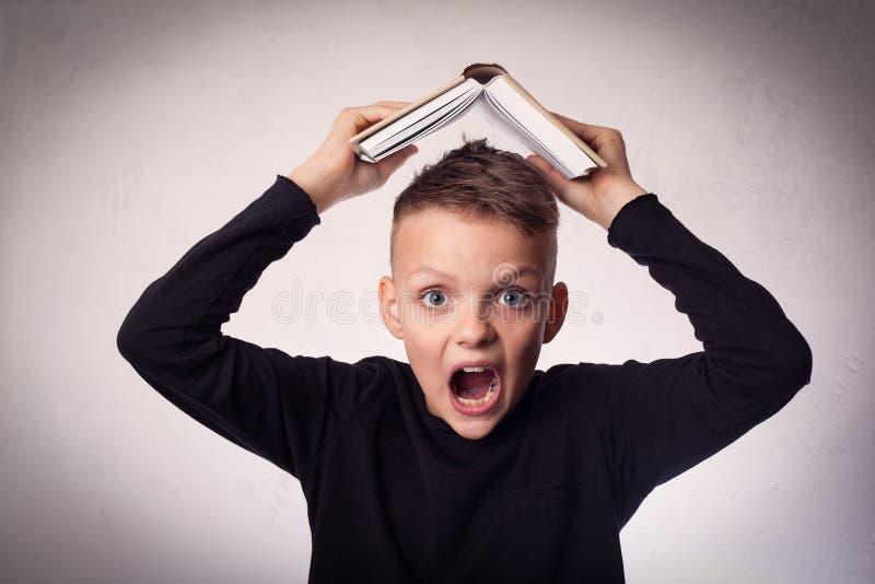 Menino que lê um livro, conceito da educação imagem de stock royalty free
