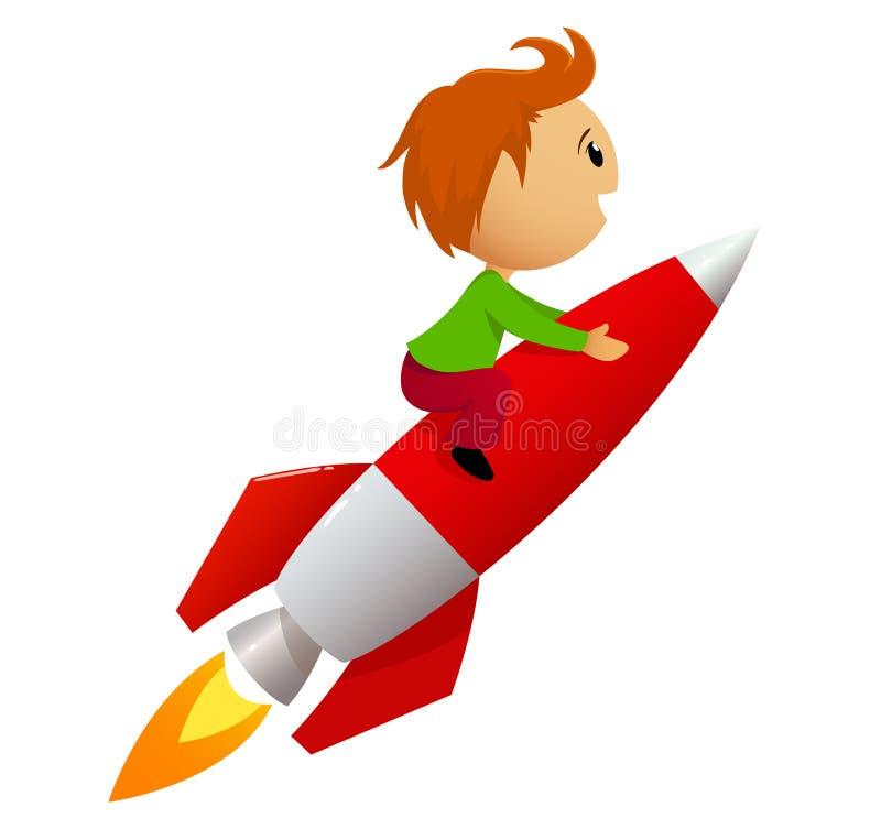 Menino que monta o foguete vermelho ilustração royalty free