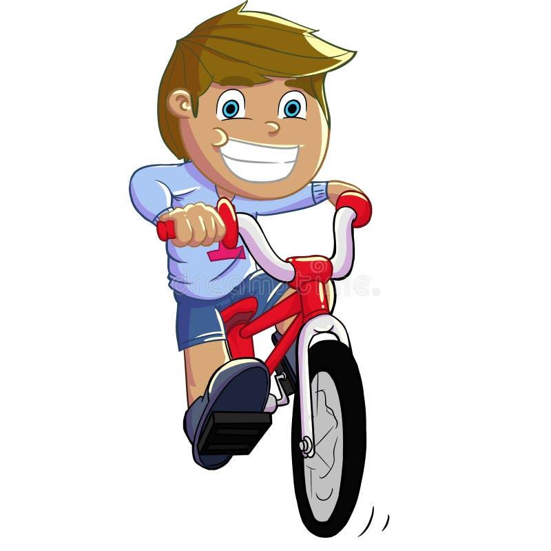 Menino que monta uma bicicleta ilustração stock