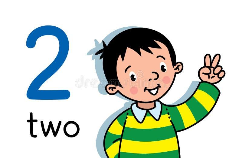 Menino que mostra dois ? m?o Contando o cart?o 2 da educa??o ilustração stock