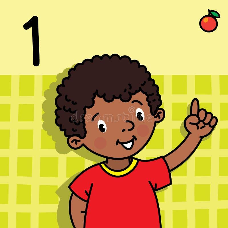 Menino que mostra um à mão Contando o cartão 1 da educação ilustração do vetor