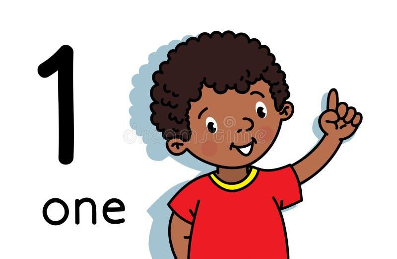 Menino que mostra um ? m?o Contando o cart?o 1 da educa??o ilustração royalty free