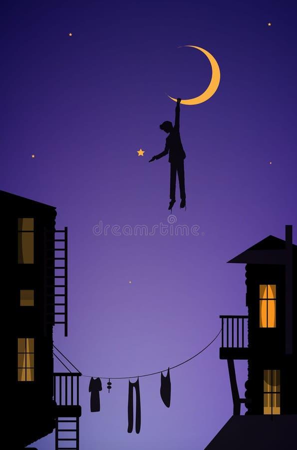 Menino que pendura a lua, sonhador na cidade, cena do conto de fadas na cidade ilustração do vetor