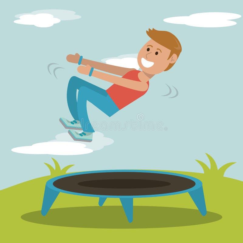 Menino que pratica saltando o projeto do esporte do trampolim ilustração royalty free