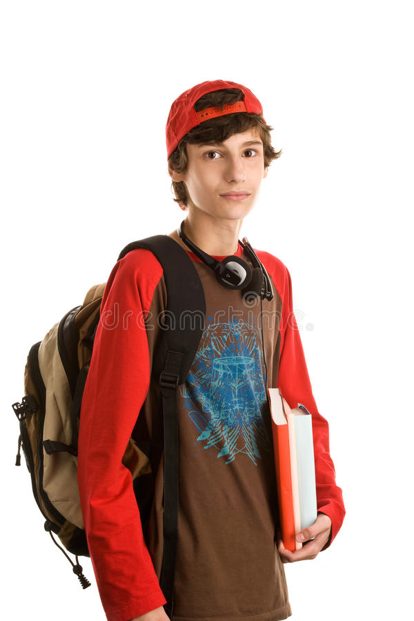 Menino que prepara-se à escola imagens de stock