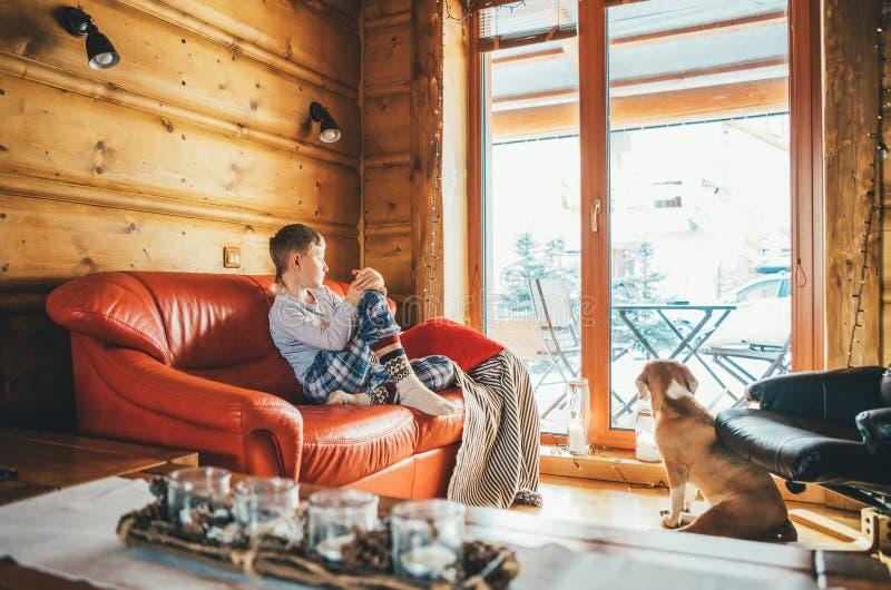 Menino que senta-se no sofá acolhedor na sala de visitas e no seu cão do lebreiro que olha na janela larga na atmosfera de casa a foto de stock