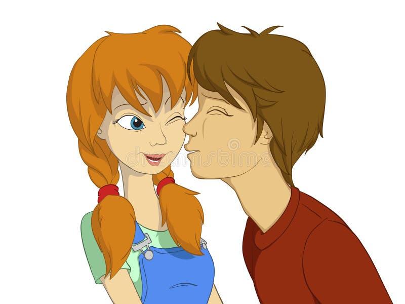 Menino que tenta beijar a menina vermelha ilustração do vetor