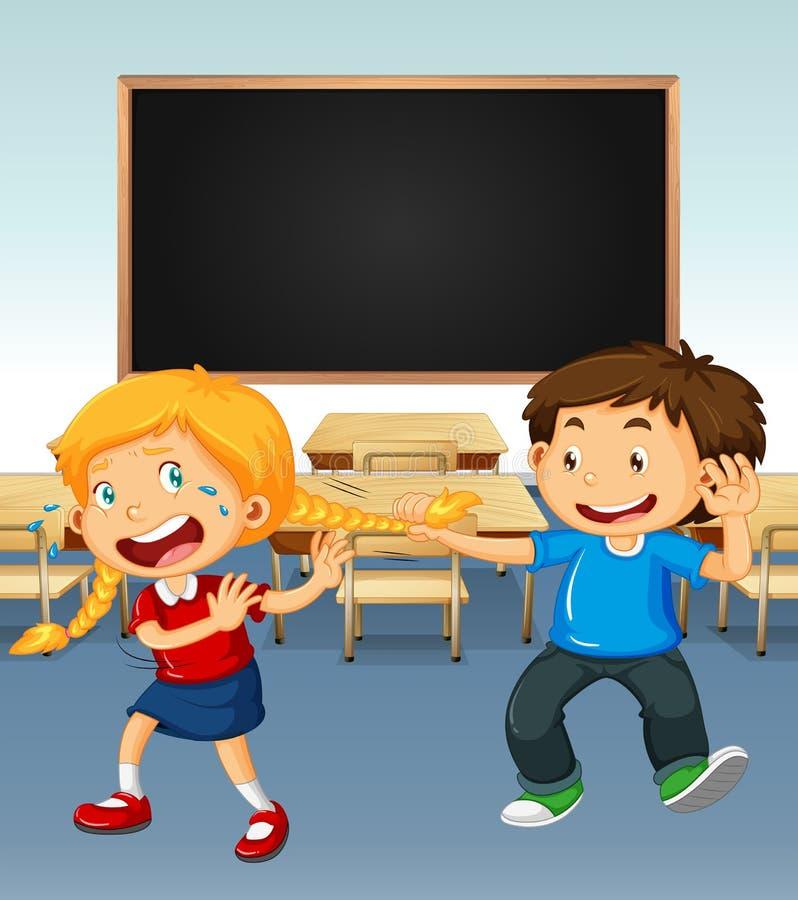 Menino que tiraniza na menina na sala de aula ilustração stock