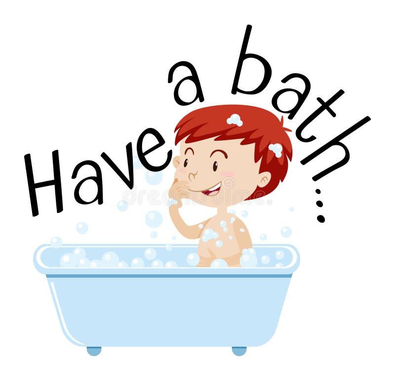 Menino que toma o banho na banheira ilustração do vetor