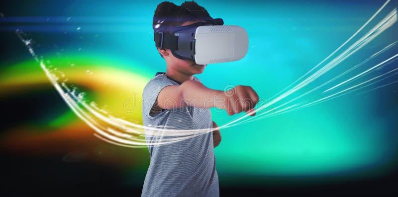 Menino que usa auriculares da realidade virtual ao gesticular ilustração do vetor
