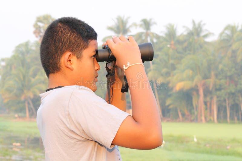 Menino que usa os binóculos que olham a natureza fotos de stock