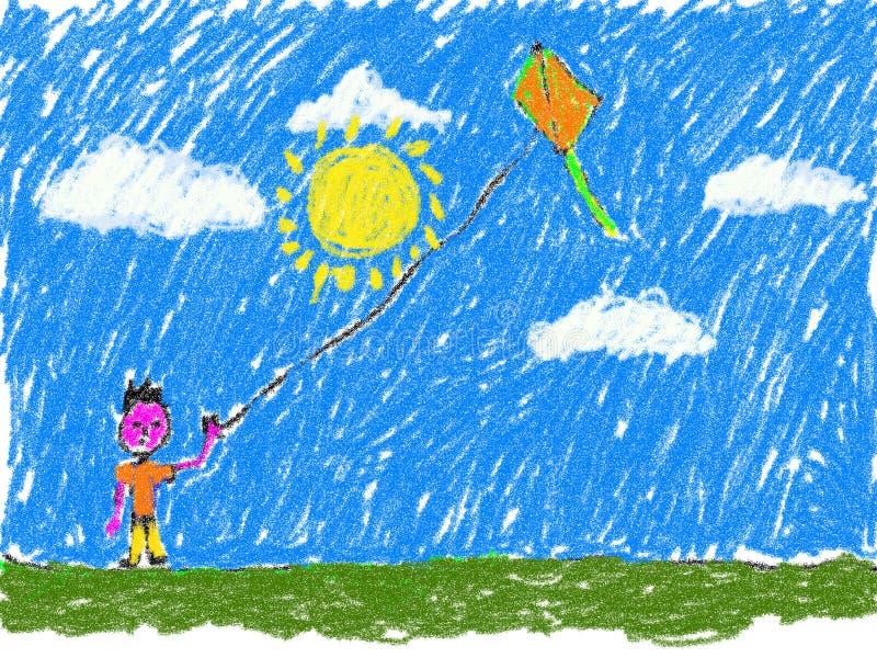 Menino que voa uma criança do papagaio como a arte finala ilustração do vetor