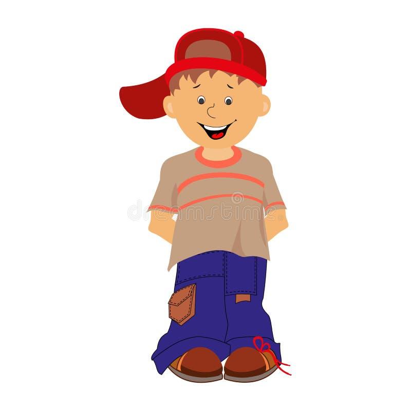 Menino Rapaz pequeno tímido nas calças de brim e em um tampão animation ilustração royalty free