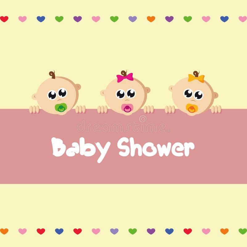 Menino recém-nascido bonito das objetivas triplas do bebê e duas meninas ilustração royalty free