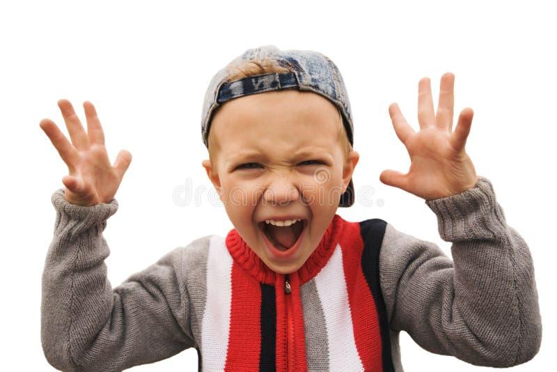 menino shouting imagem de stock
