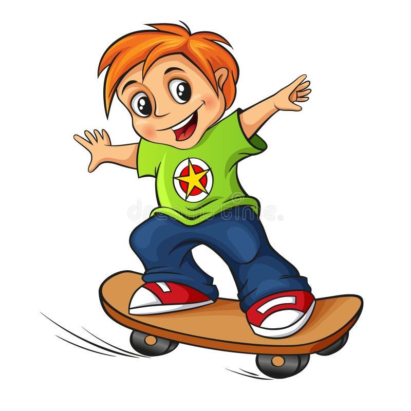 Menino Skateboarding ilustração royalty free