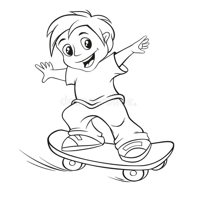Menino Skateboarding ilustração do vetor
