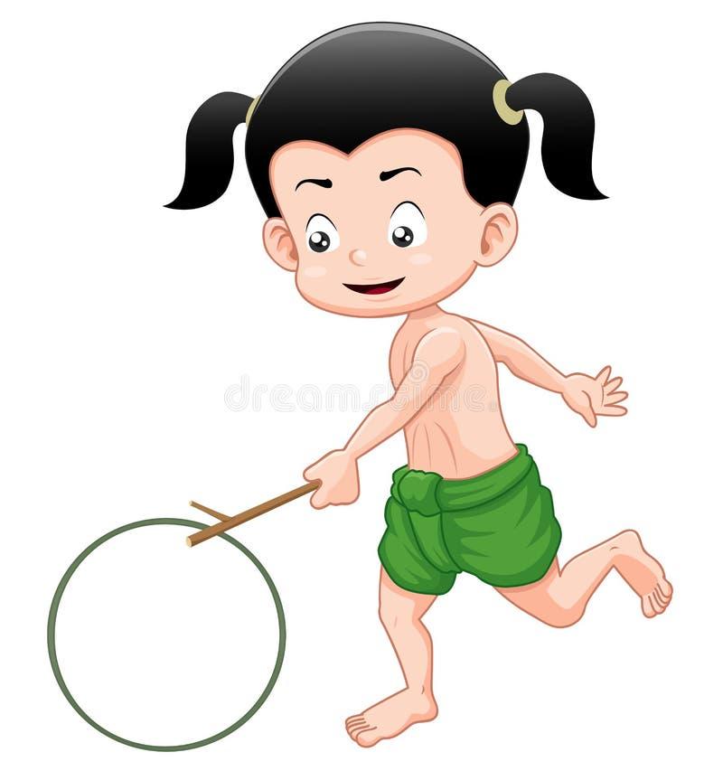 Menino tailandês que joga o brinquedo ilustração royalty free