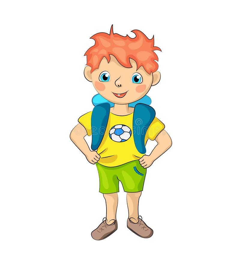 Menino vermelho do cabelo com sorriso feliz e t-shirt do futebol Ilustração de sorriso do menino bonito no fundo branco ilustração stock
