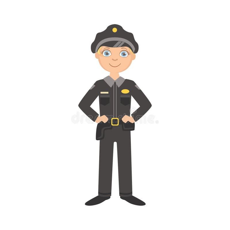 Menino vestido como o oficial do polícia ilustração stock