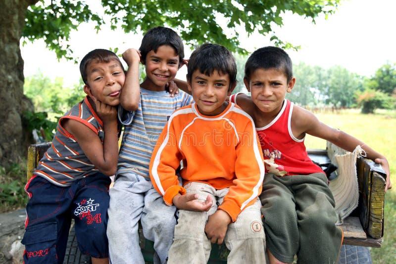 Meninos aciganados em Edirne em Turquia foto de stock