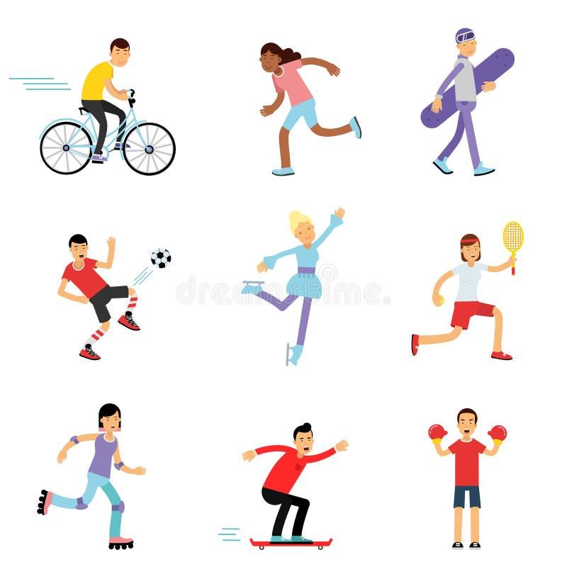 Meninos adolescentes e meninas que contratam nas atividades diferentes dos esportes, nas crianças desportivos praticando no gym d ilustração stock